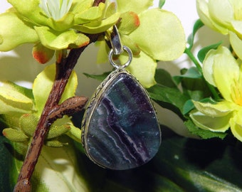 ROYAL Woodland Elf inspired vessel - Handcrafted Rainbow Fluorite pendant necklace