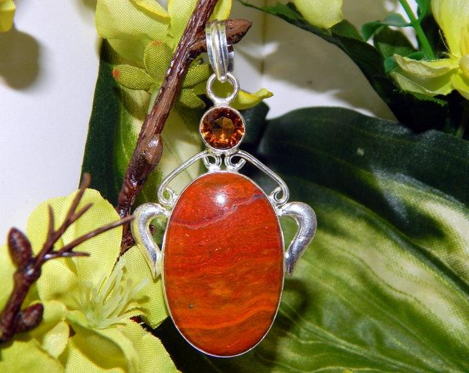 WA Jann Djinni inspired vessel - Handcrafted Citrine Mookite Jasper pendant necklace