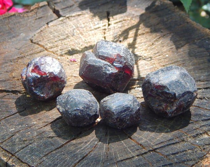 One Raw Garnet intuitively chosen - Reiki Wicca Pagan Geology birthstone gemstone specimen