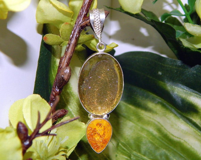 MAJESTIC Monarch Fairy inspired vessel - Handcrafted Gold druzy geode necklace