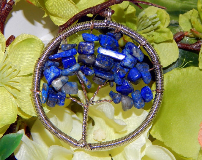 TREE of LIFE Sodalite wire wrap pendant - Druid Celtic Pagan charm talisman with natural stones includes sterling silver link chain