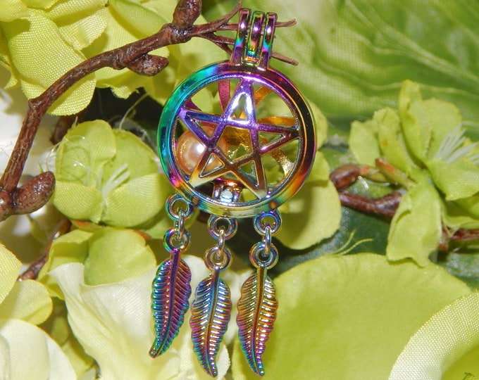 RAINBOW PAGAN Pentacle locket necklace with faux pearl - Charm necklace includes silver link chain