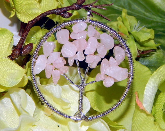 TREE of LIFE Rose Quartz wire wrap pendant - Druid Celtic Pagan charm talisman with natural stones includes sterling silver link chain