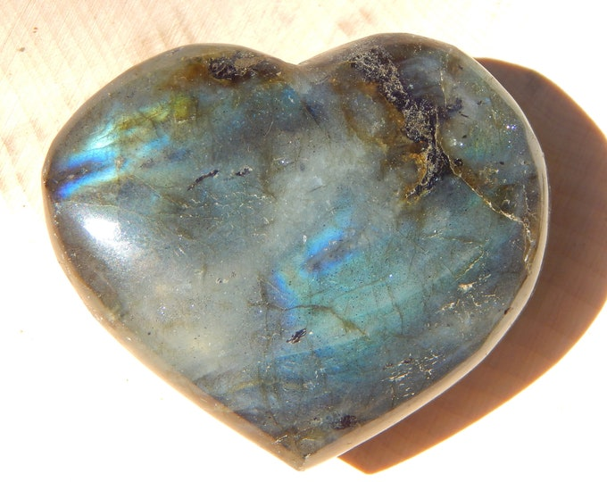 54g polished Labradorite heart - 2 inch gold and blue flash Spectrolite - Reiki Wicca Pagan Geology gemstone specimen