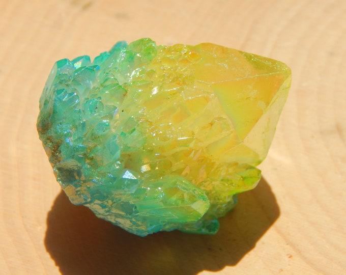 Mini BLUE & YELLOW AURA abundance Quartz cluster - 52 gram aura treated crystal - Reiki Wicca Pagan Geology gemstone specimen
