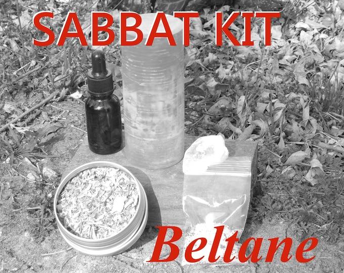 BELTANE SABBAT complete KIT - includes beeswax candle, Herbal incense blend, Sabbat oil, Gems, instructions