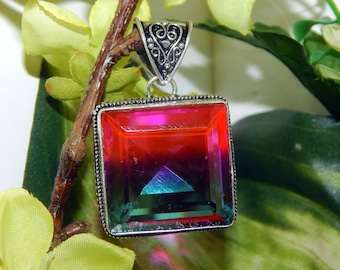 DUO Undine water elemental inspired vessel - Handcrafted multi-color Tourmaline pendant necklace - Wiccan Pagan Witchcraft