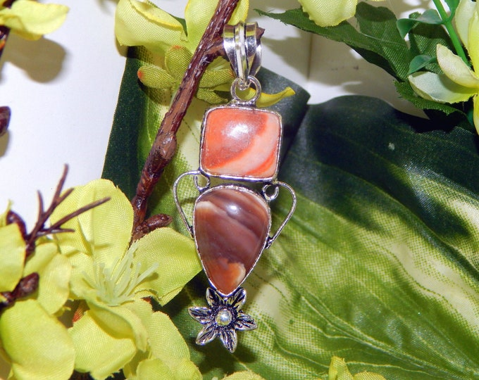 DUO MYSTICAL Dryad hybrid & Alicorn inspired vessel - Handcrafted Jasper pendant with chain - Pagan Conjure Wiccan Spirit vessel Witchcraft