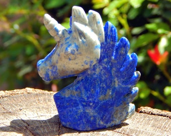 Lapis Lazuli UNICORN hand-carved bust self-standing natural gemstone  - Reiki Wicca Pagan Geology gemstone spirit animal
