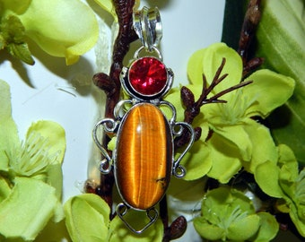 BOLD Werecat Bobcat Shifter inspired vessel - Handcrafted Tiger Eye pendant with chain