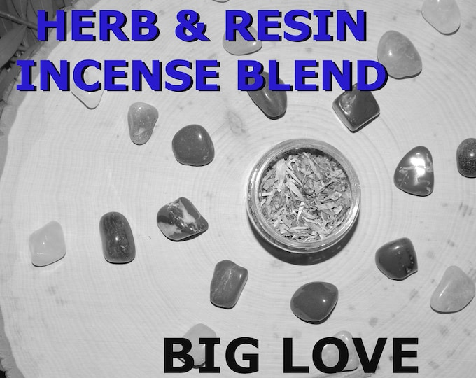 BIG LOVE Herb and Resin Incense Blend 2 oz - Handmade ritual incense blend Passion Attraction Pagan Wiccan Witchcraft Spirit offering