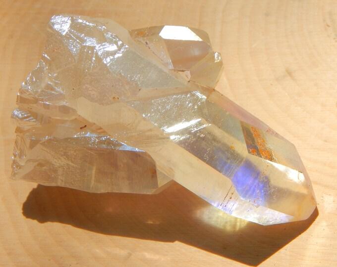 BIG ANGEL AURA Quartz triplet cross crystal - 96 gram aura treated Quartz crystal - Reiki Wicca Pagan Geology gemstone specimen