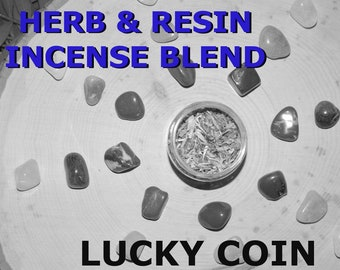 LUCKY COIN Herb and Resin Incense Blend 2 oz - Handmade ritual incense blend Prosperity Pagan Wiccan Witchcraft Spirit offering