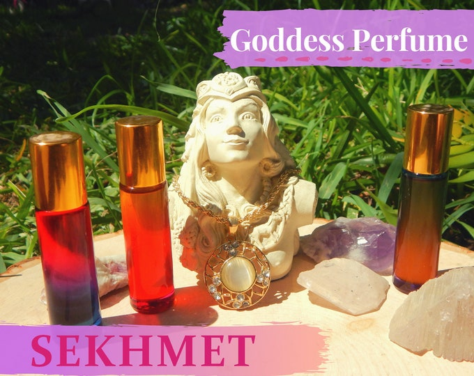 SEKHMET Goddess PERFUME OIL many sizes | for altar body anointing | High quality organic handmade with essential oils & herbs