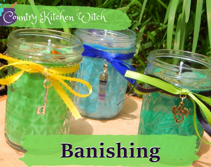 BANISHING ritual jar candle prayer candle banishment - Fixed & dressed - 100% Hand-crafted with soy wax, herbs and oils