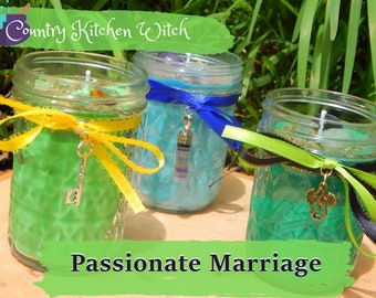 PASSIONATE MARRIAGE ritual jar candle prayer candle for loving matrimony - Fixed & dressed - 100% Hand-crafted with soy wax, herbs and oils