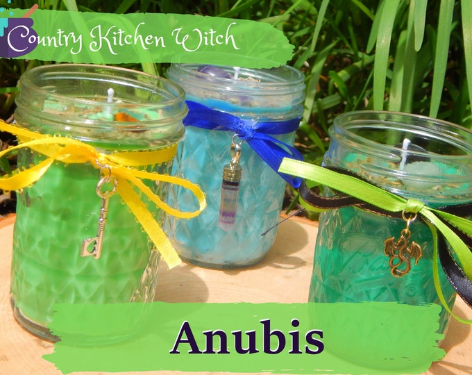 ANUBIS ritual jar candle prayer candle for Mediumship, Power - Fixed & dressed - 100% Hand-crafted with soy wax, herbs and oils