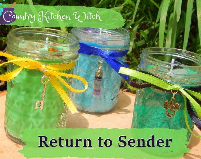 RETURN TO SENDER ritual jar candle prayer candle for Banishment - Fixed & dressed - 100% Hand-crafted with soy wax, herbs and oils