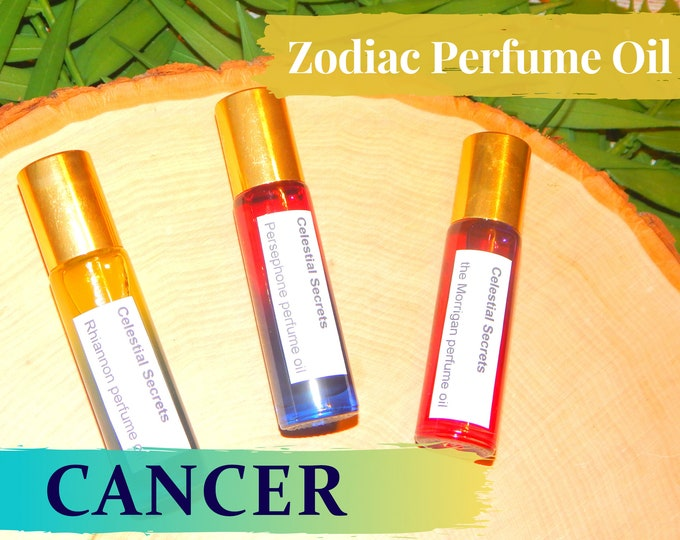 CANCER ZODIAC PERFUME Oil, three sizes | for altar body anointing | High quality organic handmade with essential oils, crystals & herbs