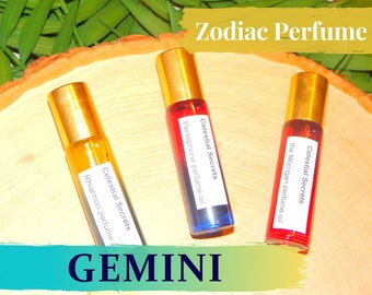 GEMINI ZODIAC PERFUME Oil, three sizes   for altar body anointing   High quality organic handmade with essential oils, crystals & herbs