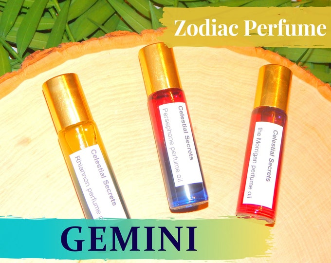 GEMINI ZODIAC PERFUME Oil, three sizes | for altar body anointing | High quality organic handmade with essential oils, crystals & herbs
