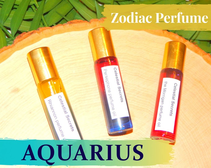 AQUARIUS ZODIAC PERFUME Oil, three sizes   for altar body anointing   High quality organic handmade with essential oils, crystals & herbs