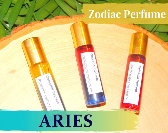 ARIES ZODIAC PERFUME oil, three sizes | for altar body anointing | High quality organic handmade with essential oils, crystals & herbs