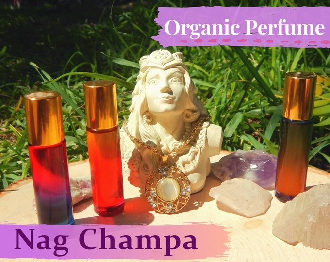 NAG CHAMPA Organic Perfume Oil   Boho Collection, many sizes   handmade with essential oils crystal and herbs