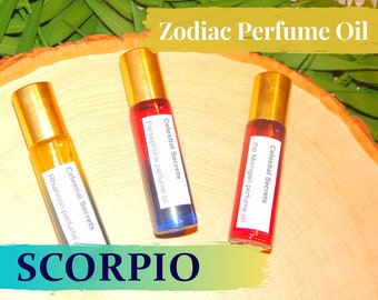 SCORPIO ZODIAC PERFUME Oil, three sizes | for altar body anointing | High quality organic handmade with essential oils, crystals & herbs