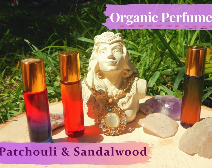 PATCHOULI & SANDALWOOD Organic Perfume Oils   Boho Collection many sizes   handmade with essential oils crystal and herbs