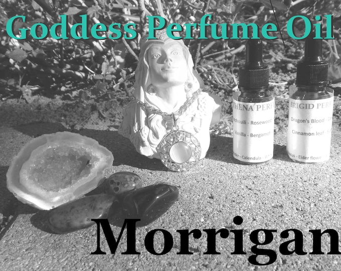 the MORRIGAN Goddess PERFUME OIL many sizes | for altar body anointing | High quality organic handmade with essential oils & herbs