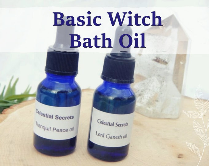 BATH RITUAL OIL 15ml - Spiritual bath, glamor magick, cleansing, protection for candles altar anointing - handmade w. essential oils & herbs