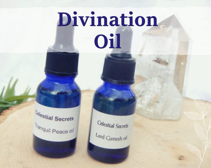 DIVINATION OIL 15ml - Divining, scrying, mediumship ritual oil for candles altar anointing - handmade with essential oils & herbs