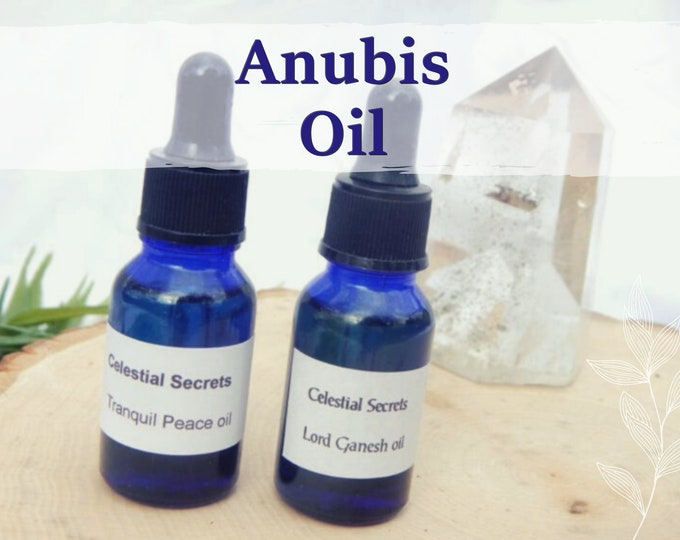 ANUBIS OIL 15ml - Spirit mediumship, underworld, guidance for candles altar anointing - handmade with essential oils and herbs