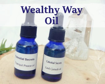 WEALTHY WAY OIL 15ml - Prosperity, stability, good fortune for candles altar anointing - handmade with essential oils & herbs