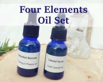 4 ELEMENTS OIL SET 15ml - Set of 4, Earth, Water, Fire, Air oil for candles altar anointing - handmade with essential oils & herbs