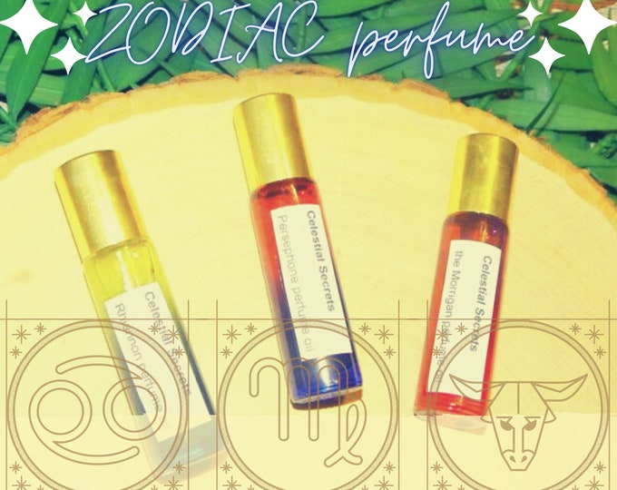 ZODIAC PERFUME OILS, three sizes   for altar body anointing   High quality organic handmade with essential oils, crystals & herbs