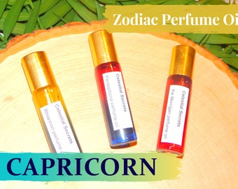 CAPRICORN ZODIAC PERFUME Oil, three sizes   for altar body anointing   High quality organic handmade with essential oils, crystals & herbs