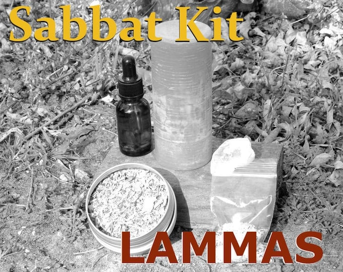 LAMMAS SABBAT complete KIT - includes beeswax candle, Herbal incense blend, Sabbat oil, Gems, instructions