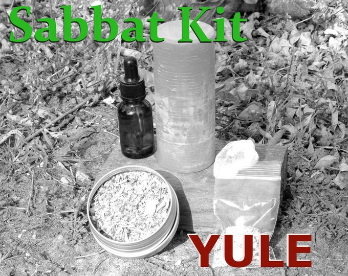 YULE SABBAT complete KIT - includes beeswax candle, Herbal incense blend, Sabbat oil, Gems, instructions