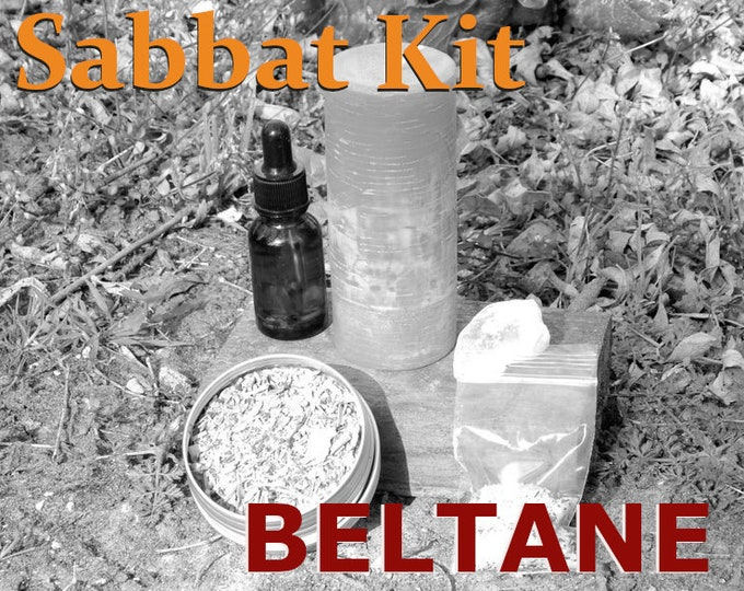 BELTANE SABBAT complete KIT - includes beeswax candle, Herbal incense blend, Sabbat oil, Gems, instructions