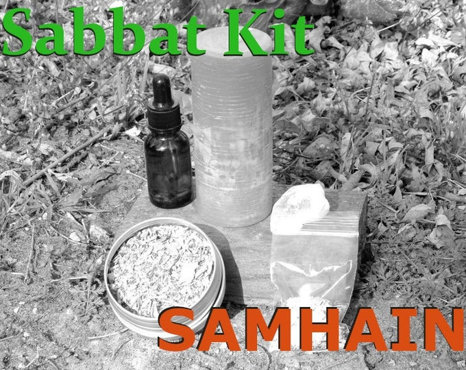 SAMHAIN SABBAT complete KIT - includes beeswax candle, Herbal incense blend, Sabbat oil, Gems, instructions