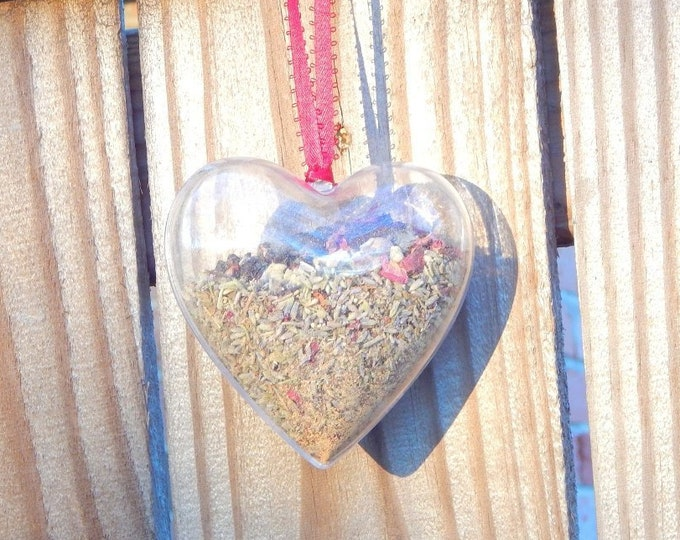 LOVE WITCHES' BALL unbreakable personalized plastic heart ornament with attraction herb blend - Home decor talisman Pagan Wiccan