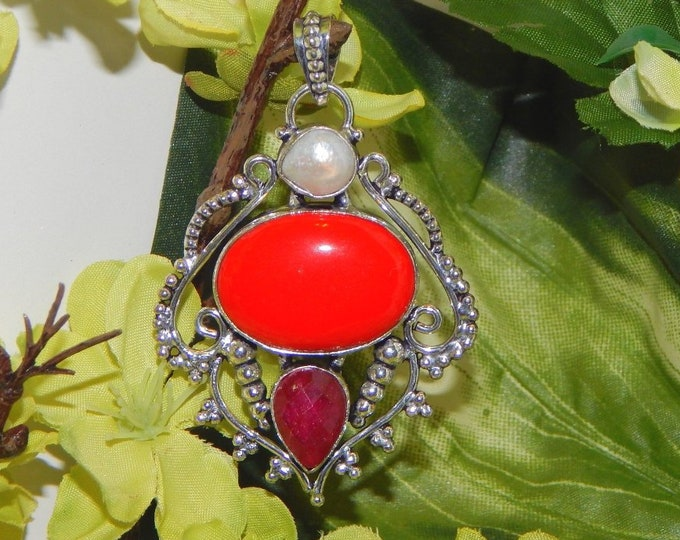 ALLURING Dreamscape Vampire Prince inspired vessel - Handcrafted Ruby Coral pendant necklace