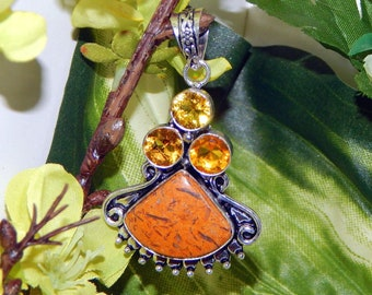 Alluring Sun Elf inspired vessel - Handcrafted Calligraphy stone Citrine pendant necklace
