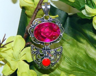 WA Unicorn Shifter inspired vessel - Handcrafted Pink Mystic Topaz pendant with chain