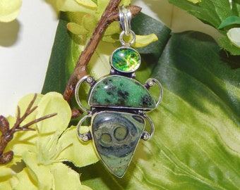 AVALONIAN Astral Elf inspired vessel - Handcrafted Rhyolite Zoisite pendant necklace