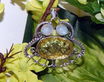 DUO Ilmu Khodam Commander inspired vessel - Handcrafted Confetti Glass Moonstone pendant necklace