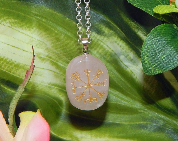 VIKING Vegvísir Heathen ROSE QUARTZ Necklace Talisman - Charm necklace includes silver link chain