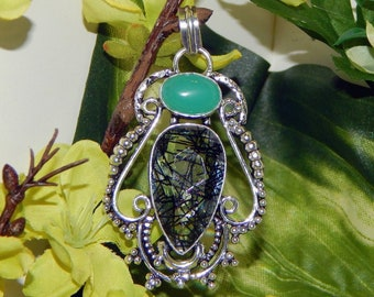 PROTECTIVE Kodiak Bear Shifter inspired vessel - Handcrafted Blue Chalcedony Confetti Glass pendant with chain